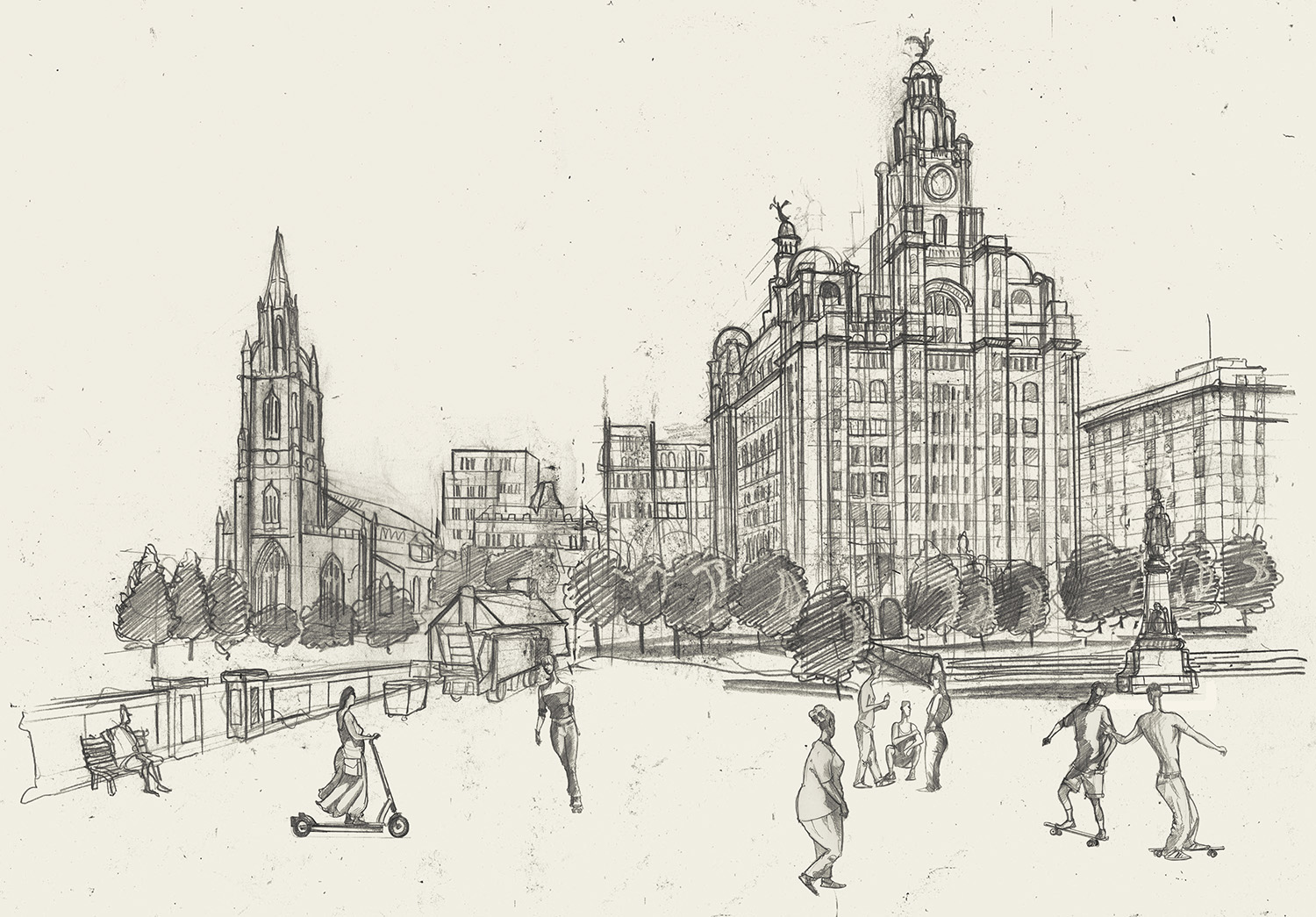 Liverpool waterfront Liver Building Drawing
